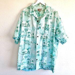 Vintage Hilo Hattie Cotton Graphic Button Up Shirt